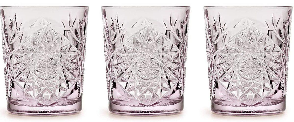 vasos de cristal tallados malva