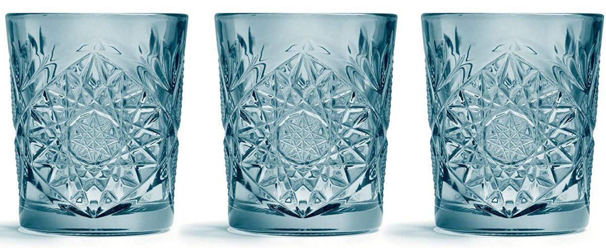 vasos de cristal tallados color turquesa