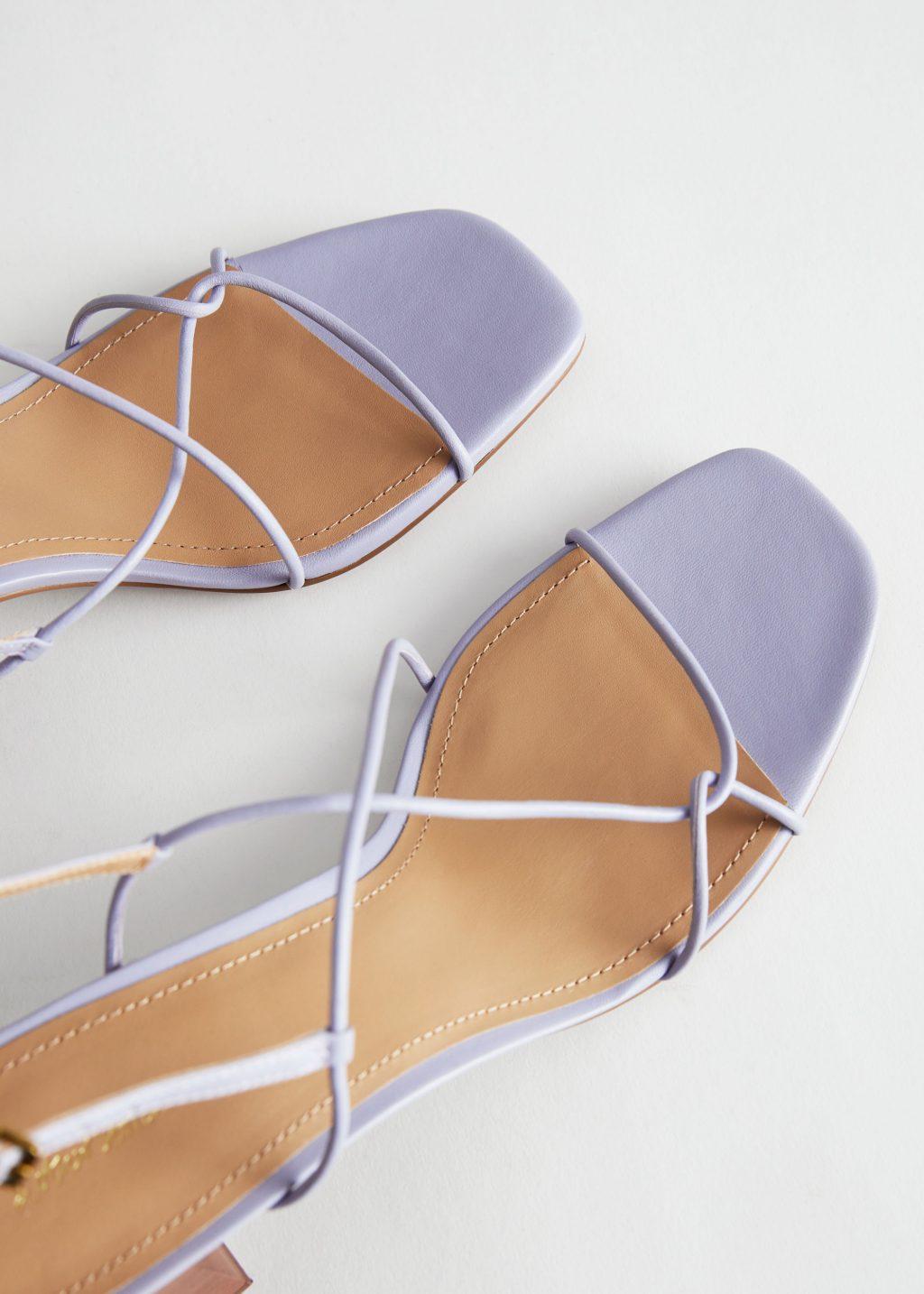 Sandalia de tacón de piel con tiras