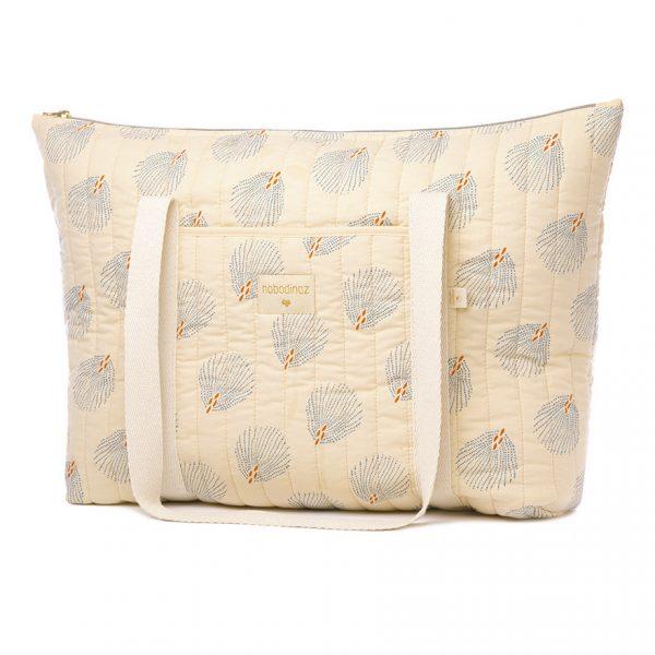 Bolso de maternidad de algodón orgánico Paris Gatsby crema
