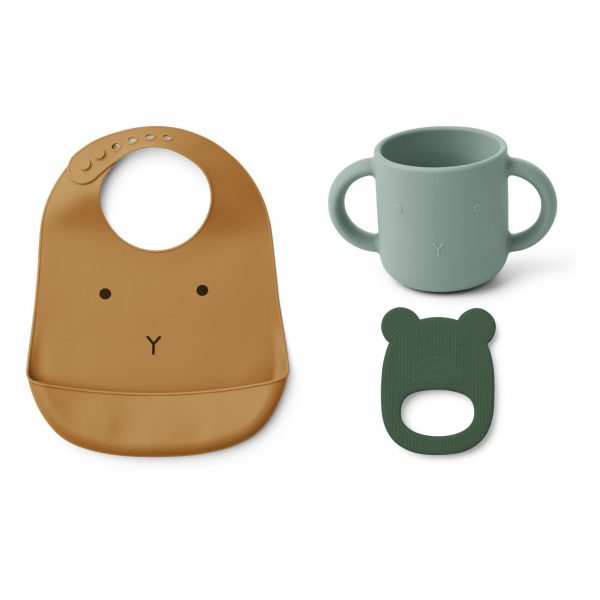 Set Babero, taza y anillo de dentición Carol de silicona Amarillo Mostaza